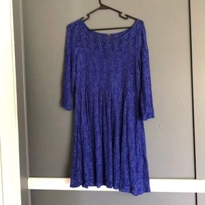 blue lace dress with slip under.